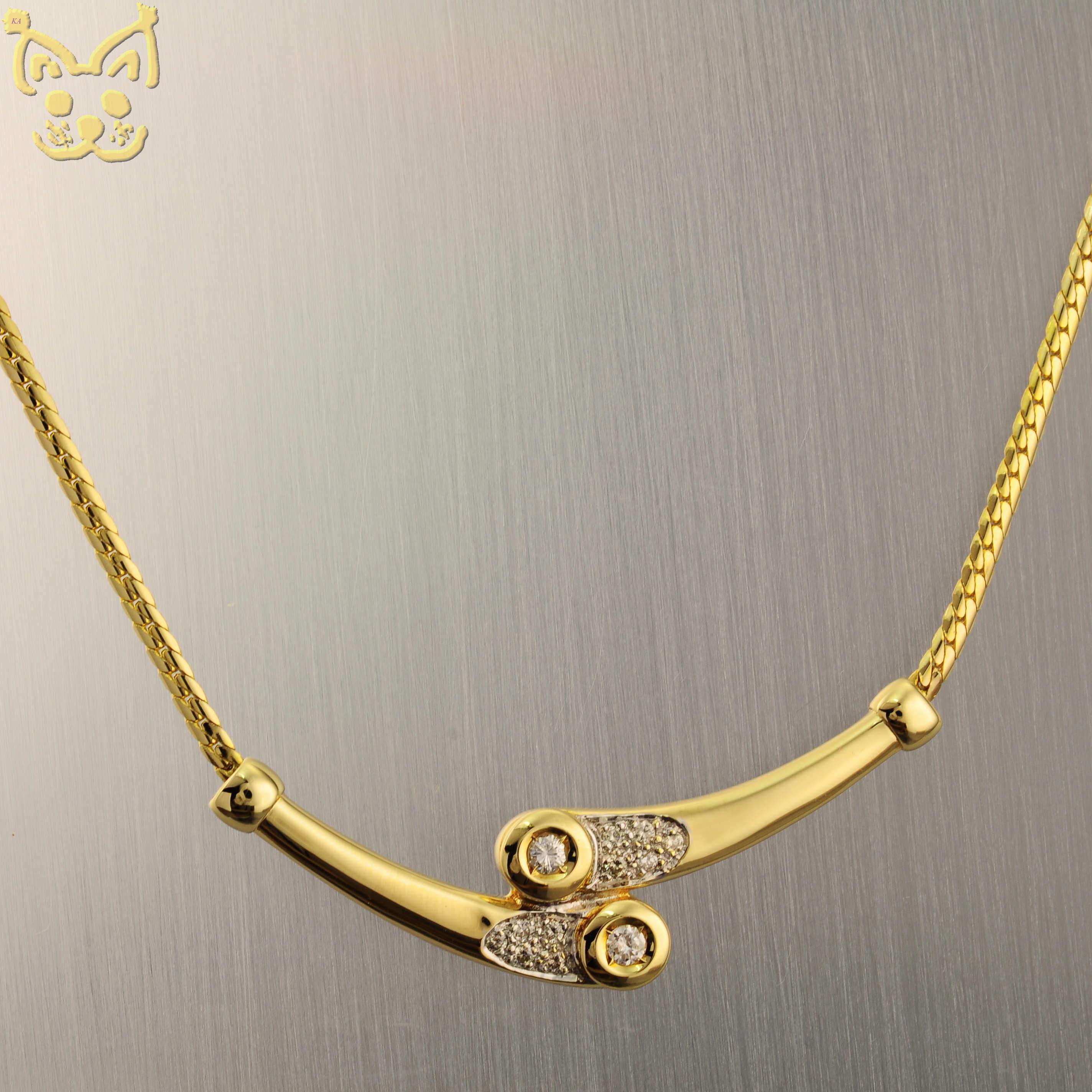 brillant diamant collier kette 0 22ct 46cm 585 14k gold gelbgold schmuck ebay. Black Bedroom Furniture Sets. Home Design Ideas