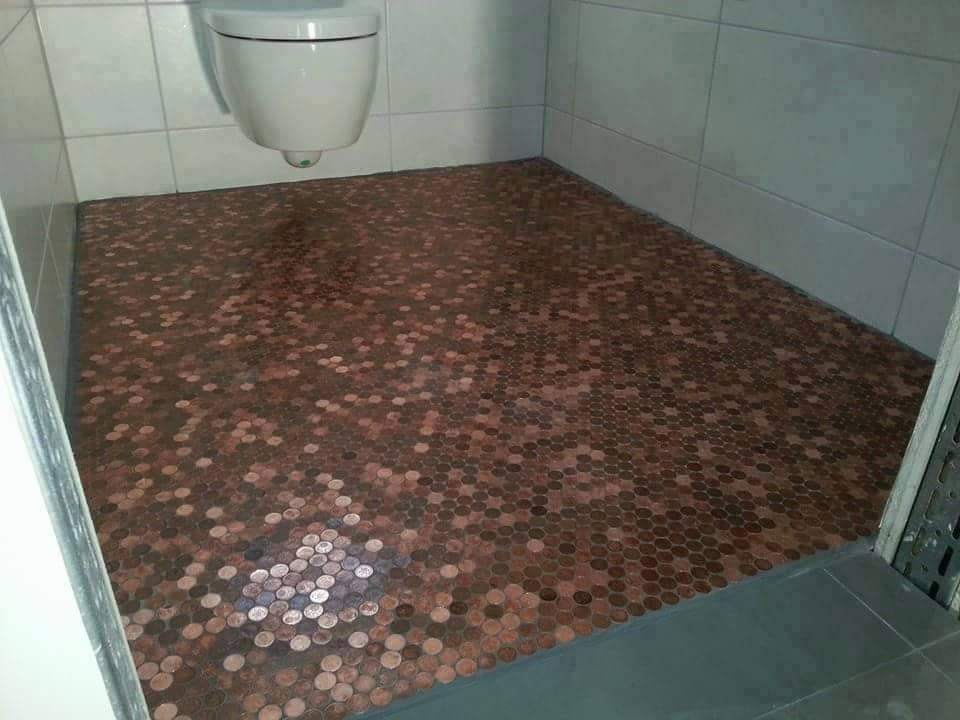 Fußboden Mit Münzen ~ Fussboden aus 1 cent stucken