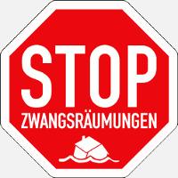 Stoppschild mit einem untergehenden Haus und der Unterueberschrift Zwangsraeumungen