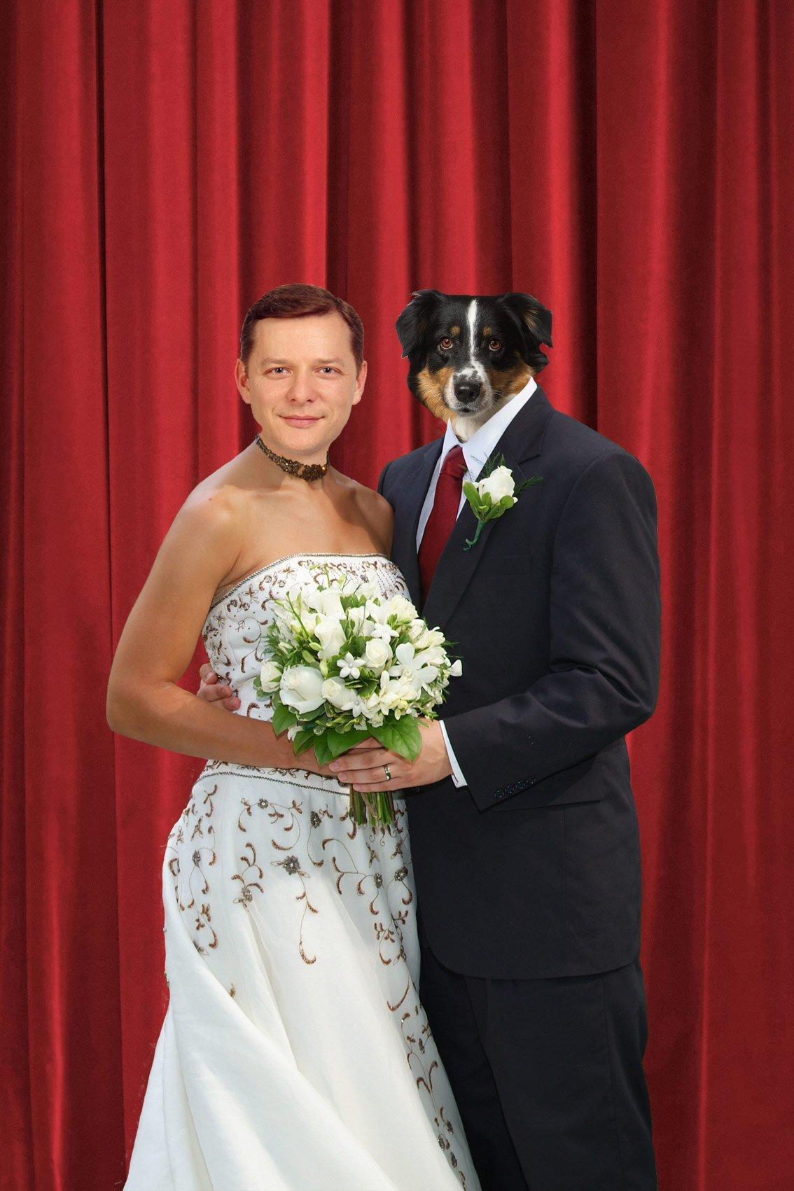 Вставить лица в фото свадьба