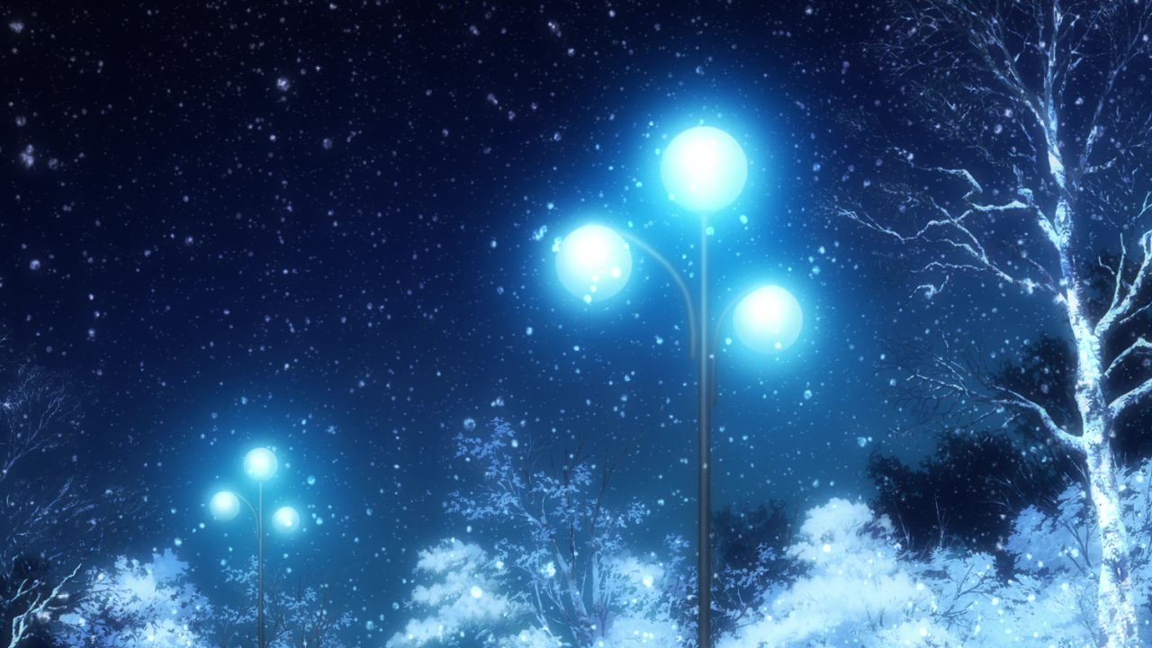Anime snow scenery gif