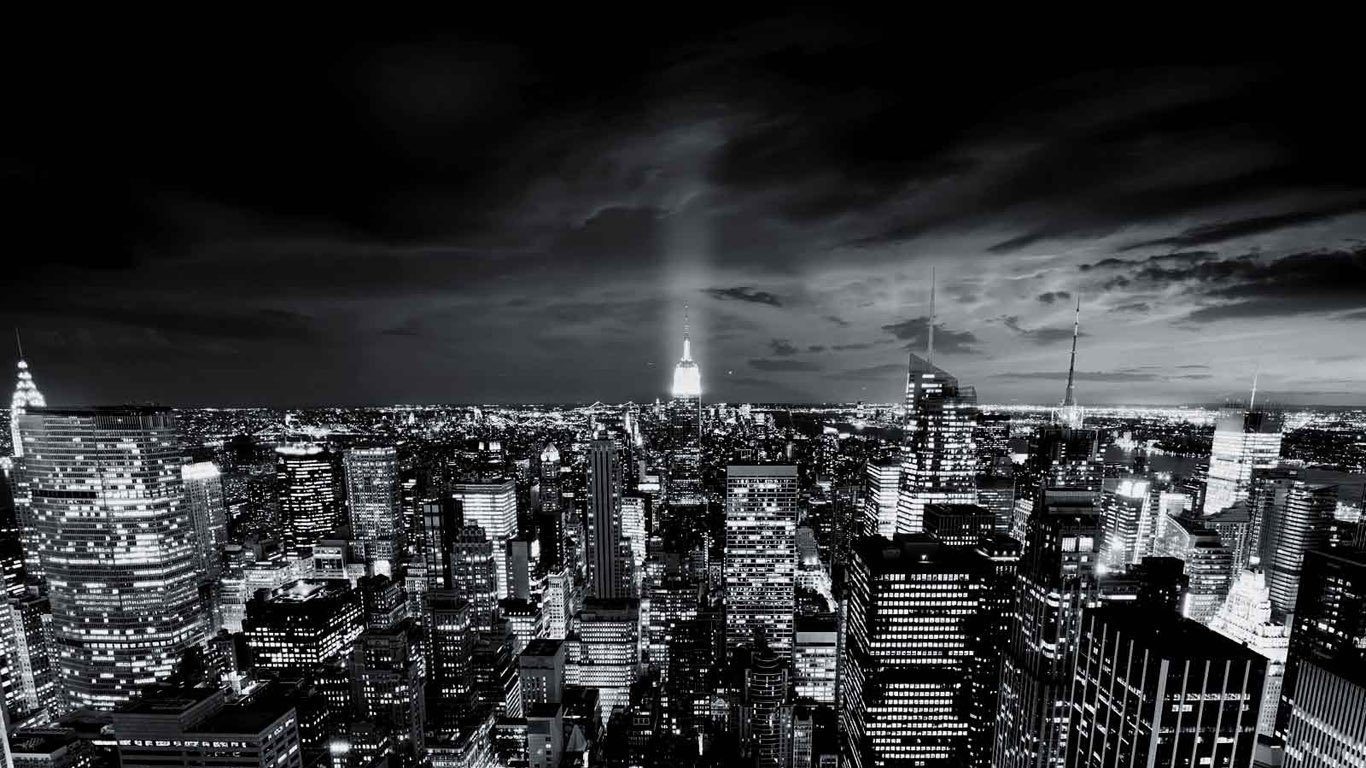 City wallpaper black and white
