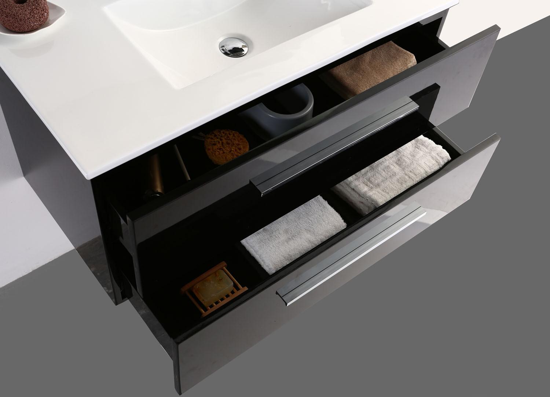 badm bel set 3teilig schwarz wei spiegel schrank badezimmerm bel hochglanz top ebay. Black Bedroom Furniture Sets. Home Design Ideas