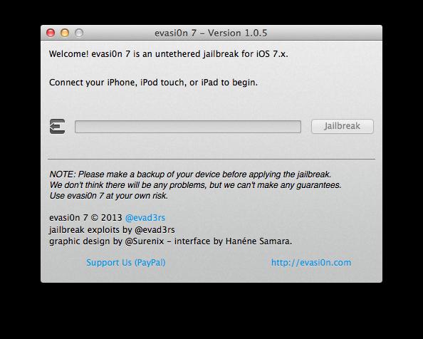 Evasi0n 1.0.5 Release to Jailbreak iOS 7.0.5