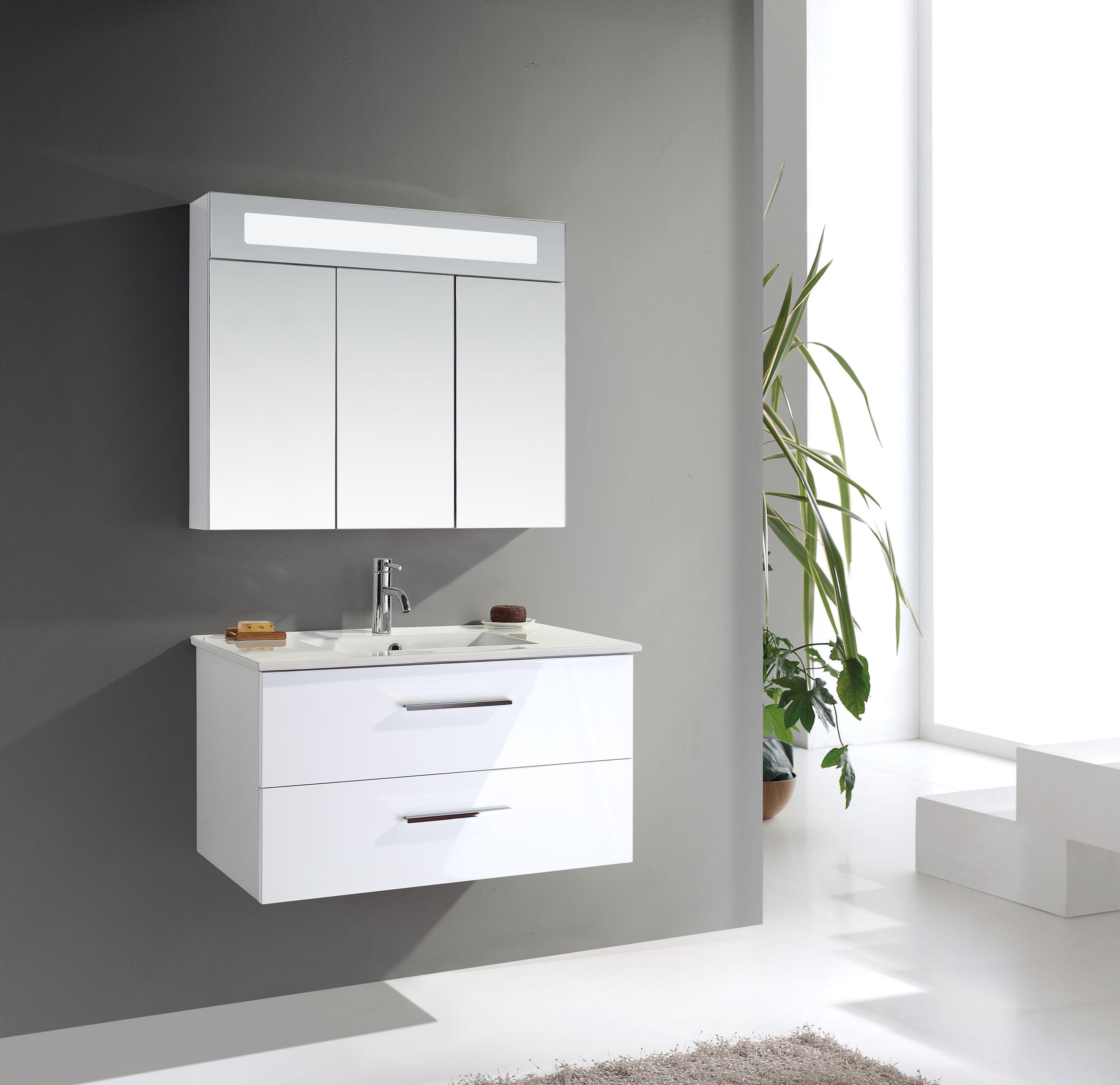 badm bel set 3teilig schwarz wei spiegel schrank badezimmerm bel hochglanz ebay. Black Bedroom Furniture Sets. Home Design Ideas
