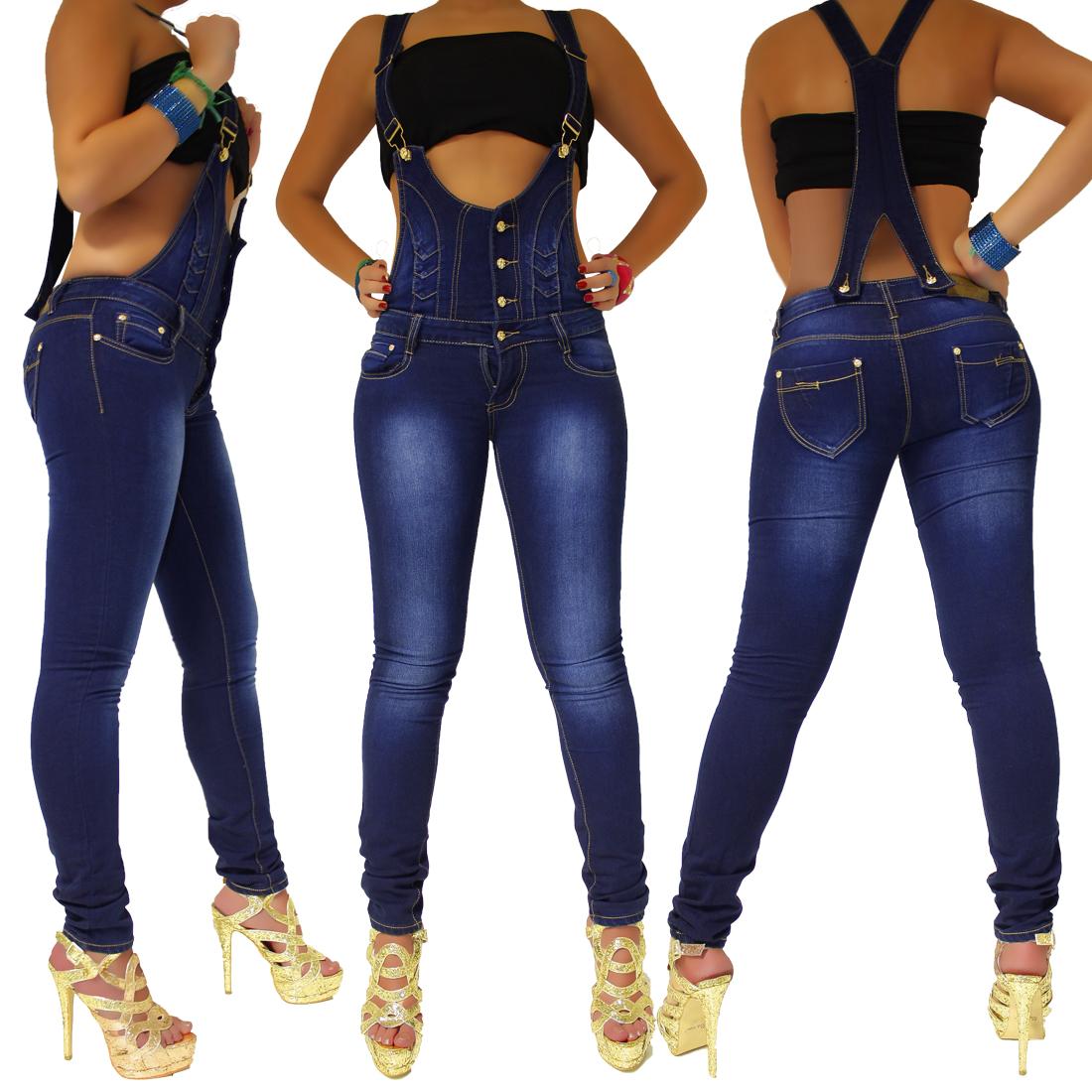 damen jeans hose mit hosentr ger latzhose overalls jumpsuits gr 36 38 40 42 44 ebay. Black Bedroom Furniture Sets. Home Design Ideas