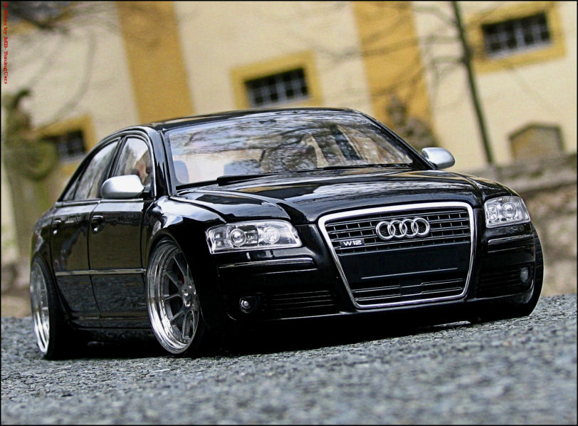 1 18 tuning audi a8 w12 nero black s8 ottica con. Black Bedroom Furniture Sets. Home Design Ideas
