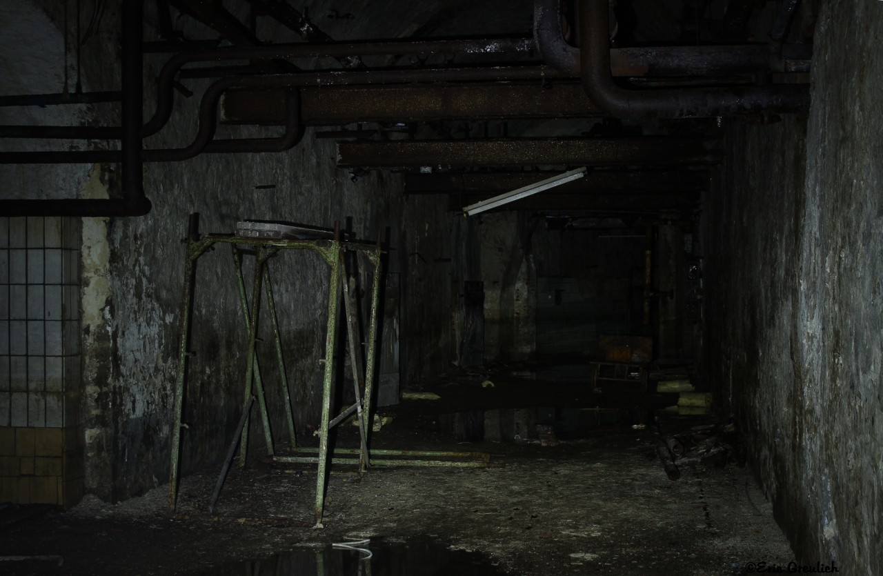 in the basement the little light came from the flashlight good