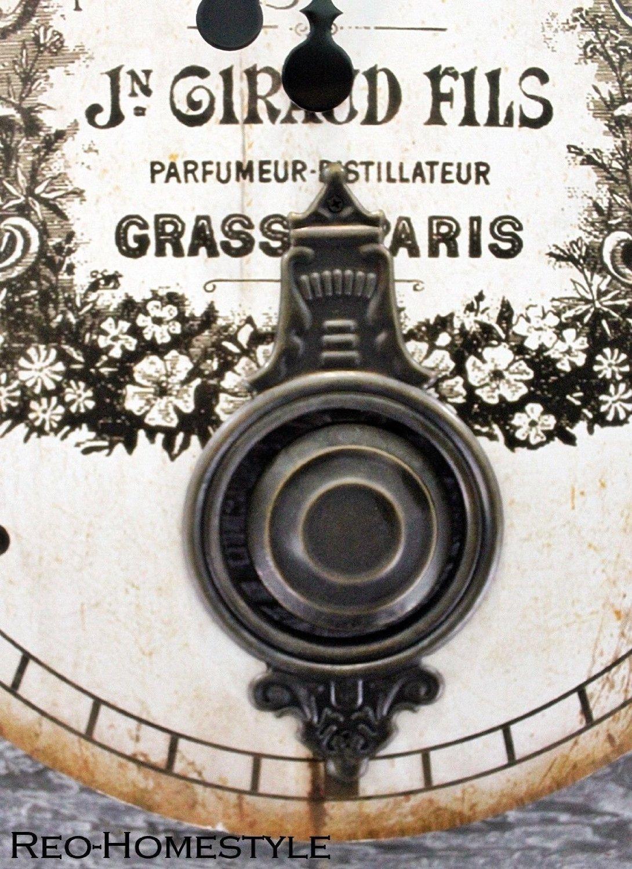 Originelle wanduhr pendeluhr uhr shabby chic vintage oval 43x58 cm beige braun ebay - Originelle wanduhr ...