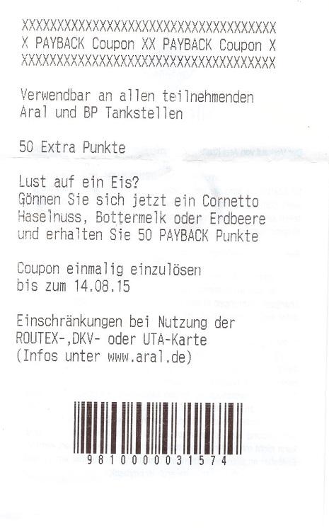 bersicht ean codes der payback coupons f r aral seite 220. Black Bedroom Furniture Sets. Home Design Ideas