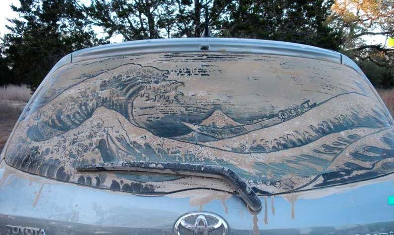 Obrazy na brudnych samochodach 34