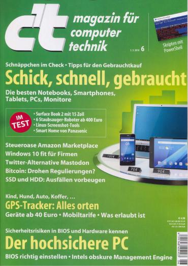 c't Magazin für Computertechnik No 06 vom 03. März 2018