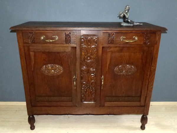 art deco anrichte antik schrank kommode paris eiche esszimmer sideboard buffet ebay. Black Bedroom Furniture Sets. Home Design Ideas