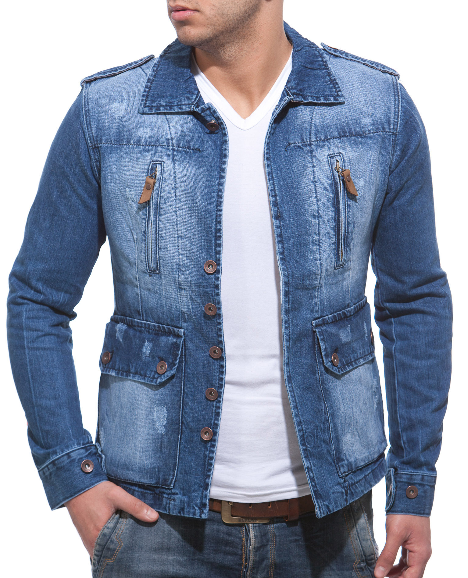 balandi herren jeans jeansjacke jacke denim sakko blazer neu style shirt 8000 ebay. Black Bedroom Furniture Sets. Home Design Ideas