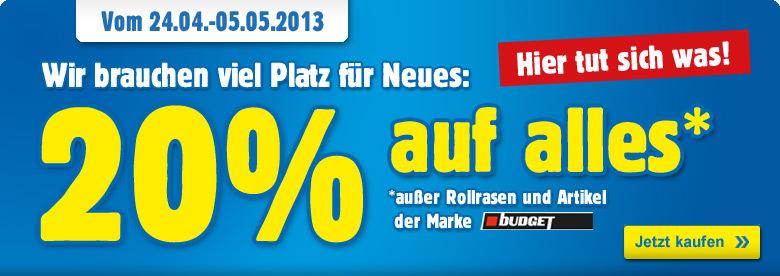 Praktiker: 20% Prozent Rabatt auf alles im Praktiker Online-Shop! - Baumarkt