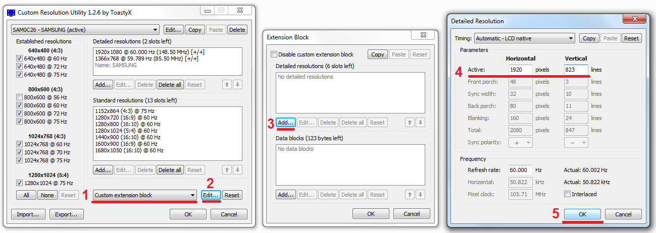 how to change custom resolution