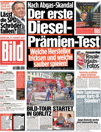 Bild  Zeitung 15 August 2017
