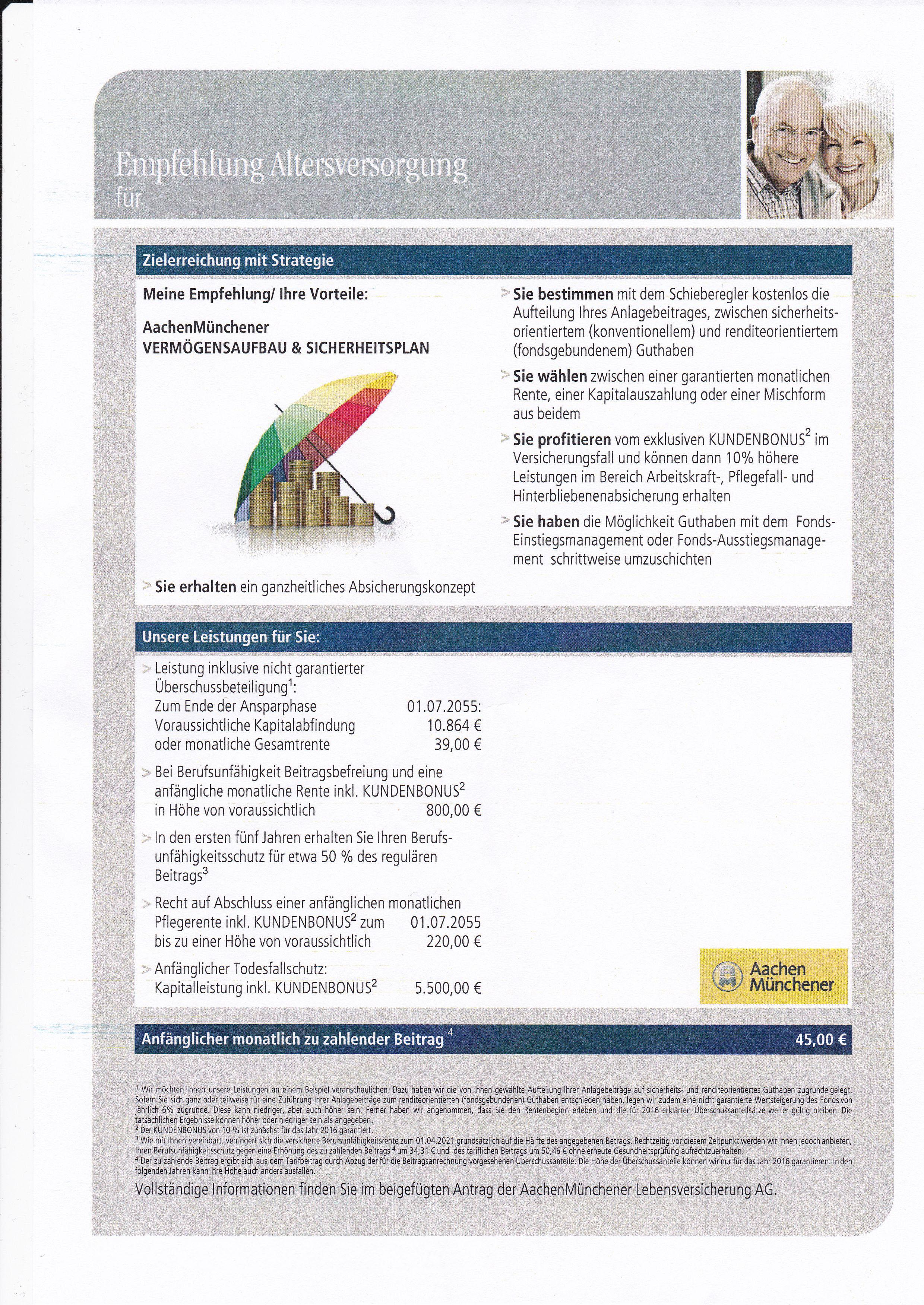BU mit Zusatzrente --> abschließen oder nicht? - Versicherungen zur ...