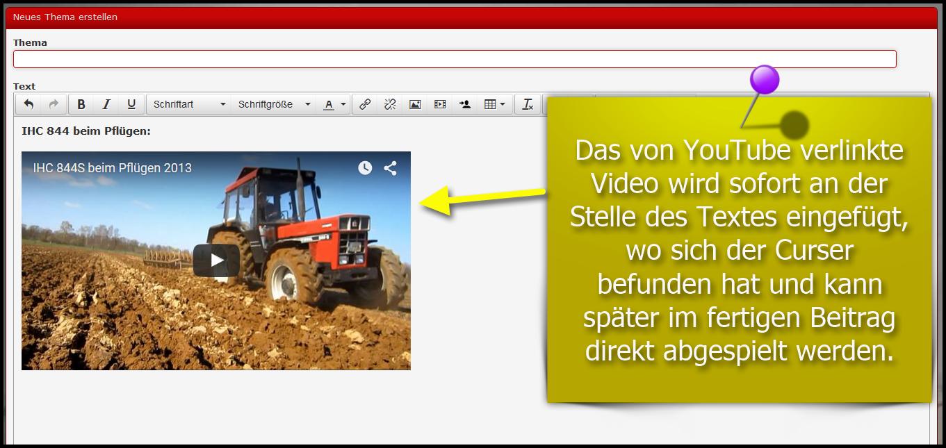 3: Nun wird das Verlinke Video an der stelle im Text als Direktplayer eingefügt und ist im Beitrag direkt abspielbar