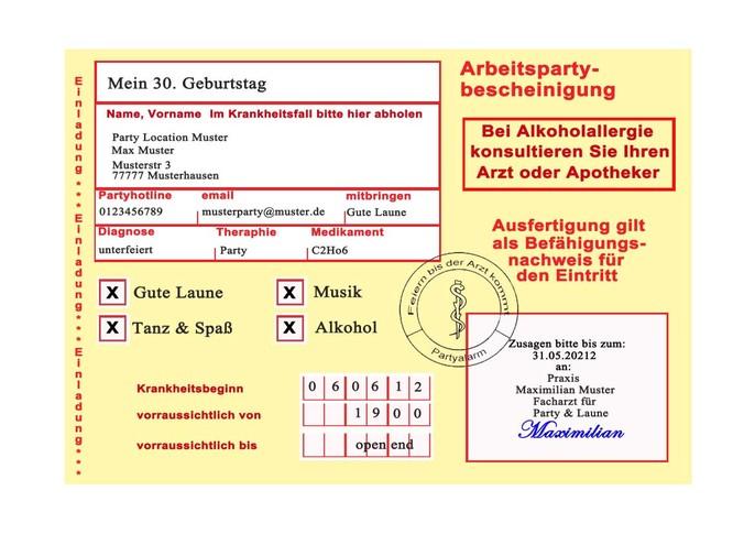 Geburtstagseinladungen Gelber Schein Arbeitsunfähigkeitsbescheinigung ...