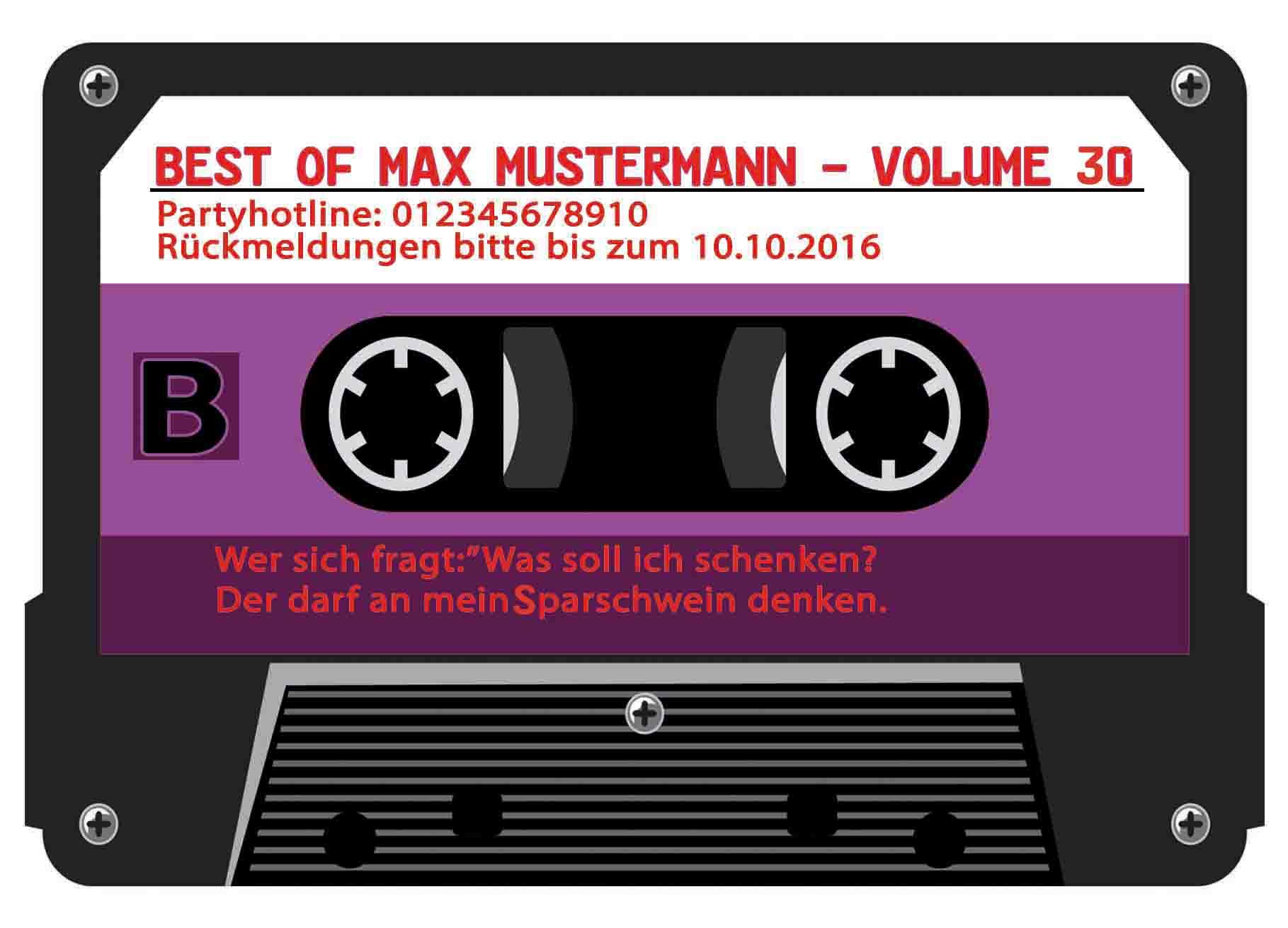 Musik Kassette 30. Geburtstag lila Einladung Musik Jahrgang 1985 Kassette 40 | eBay