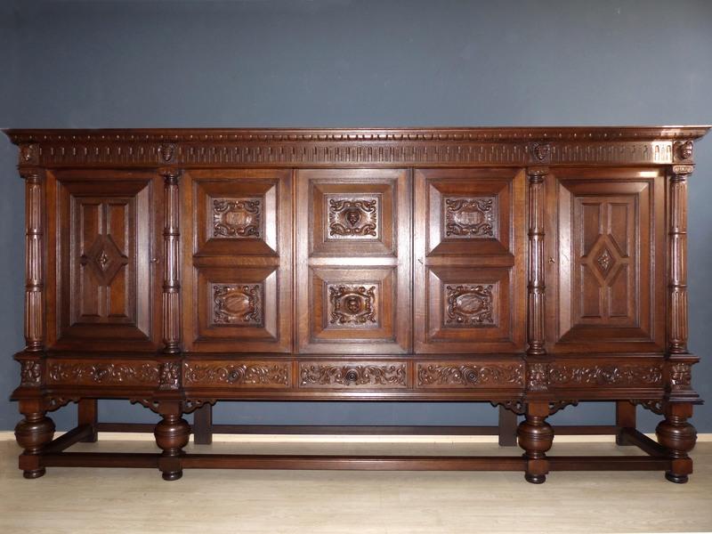 xxl barock herrenzimmer schrank sideboard anrichte b cherschrank buffet eiche ebay. Black Bedroom Furniture Sets. Home Design Ideas