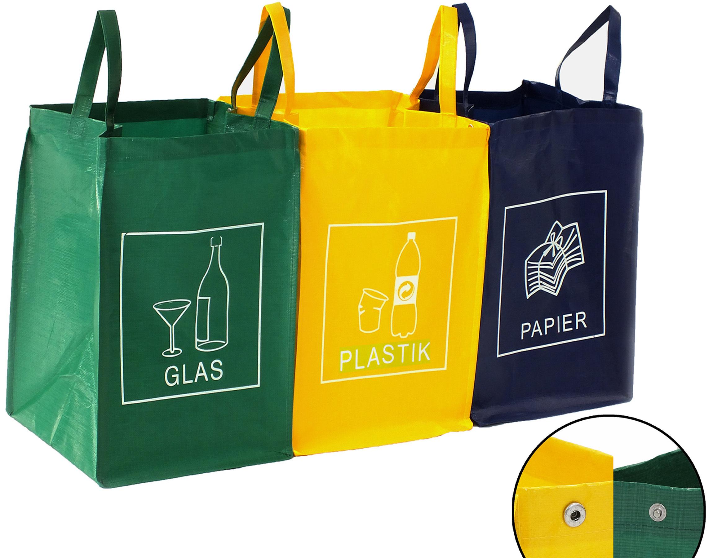 recycling m llsortiertaschen glas plastik papier m lleimer. Black Bedroom Furniture Sets. Home Design Ideas
