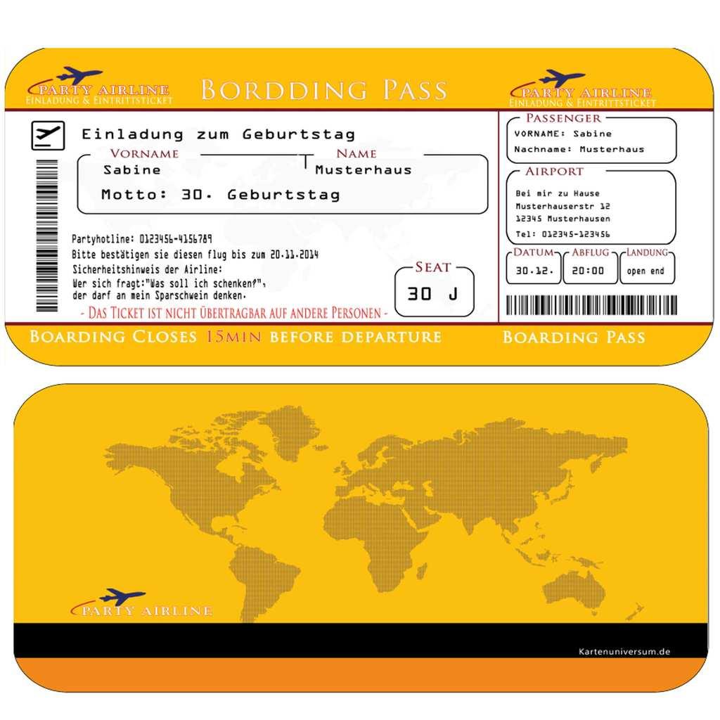 Einladungskarten Geburtstag Boarding Pass Flugticket Gelb ...