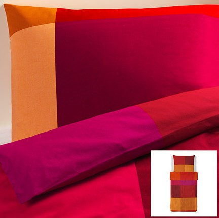ikea 4 tlg bettw sche set garnitur brunkrissla rot orange muster 140x200 neu ebay. Black Bedroom Furniture Sets. Home Design Ideas