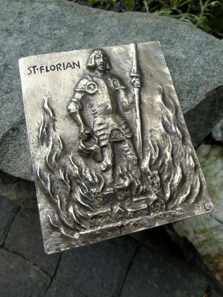 Vintage German Large Bronze Plaque Saint Florian Patron Of