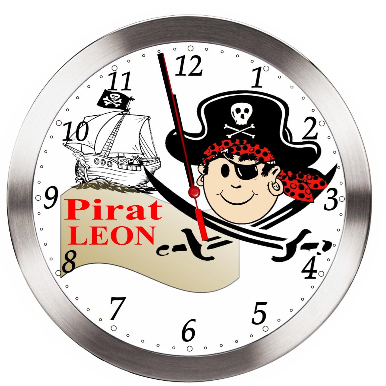 Kinder Zimmer extrem leise FUNK Uhr Pirat Wanduhr mit Wunschname ...