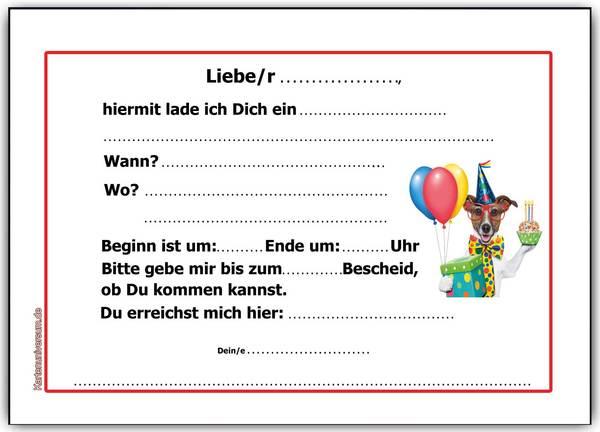 Einladung Kindergeburtstag Einladungskarten Hund Hunde Kinder Jungen ...