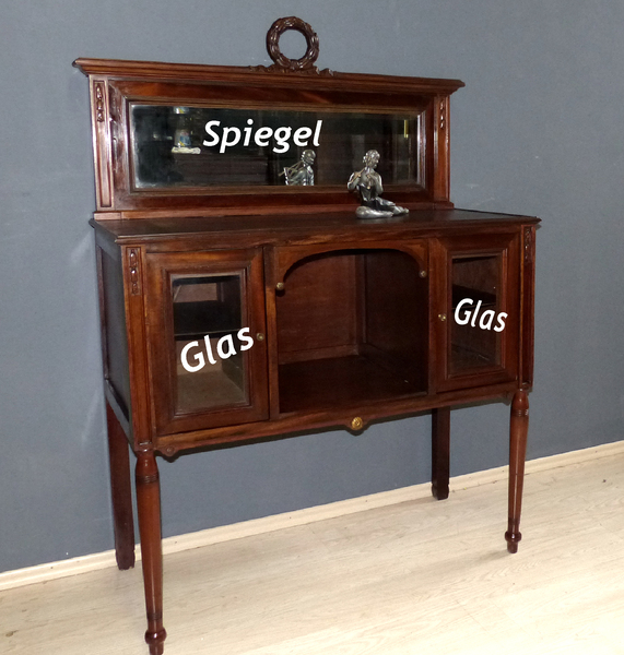 jugendstil empire esszimmer anrichte antik buffet schrank mit spiegel kommode ebay. Black Bedroom Furniture Sets. Home Design Ideas