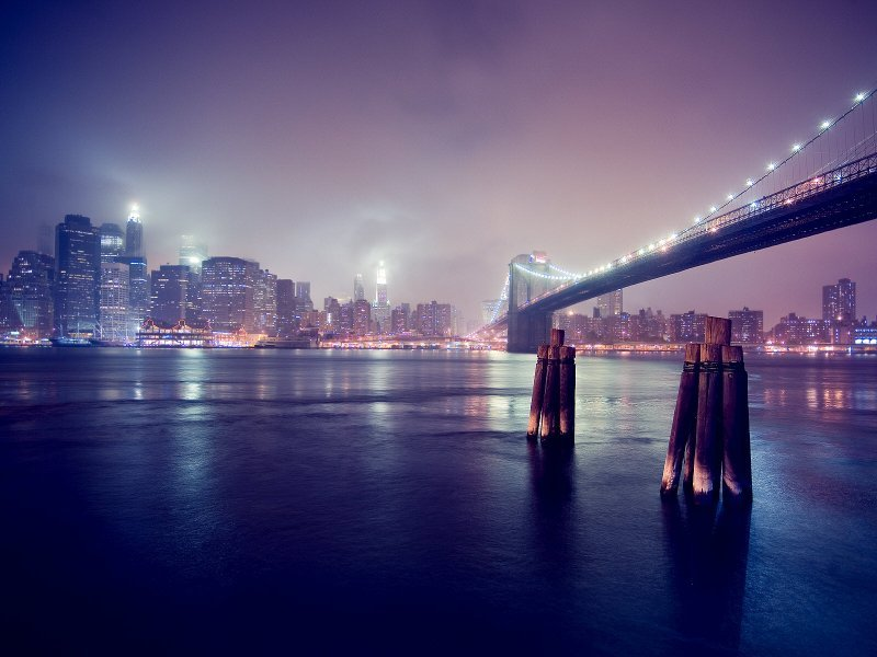 new york at night and the brooklyn bridge wallpaper HD WALLPAPERS GALLERY #65.
