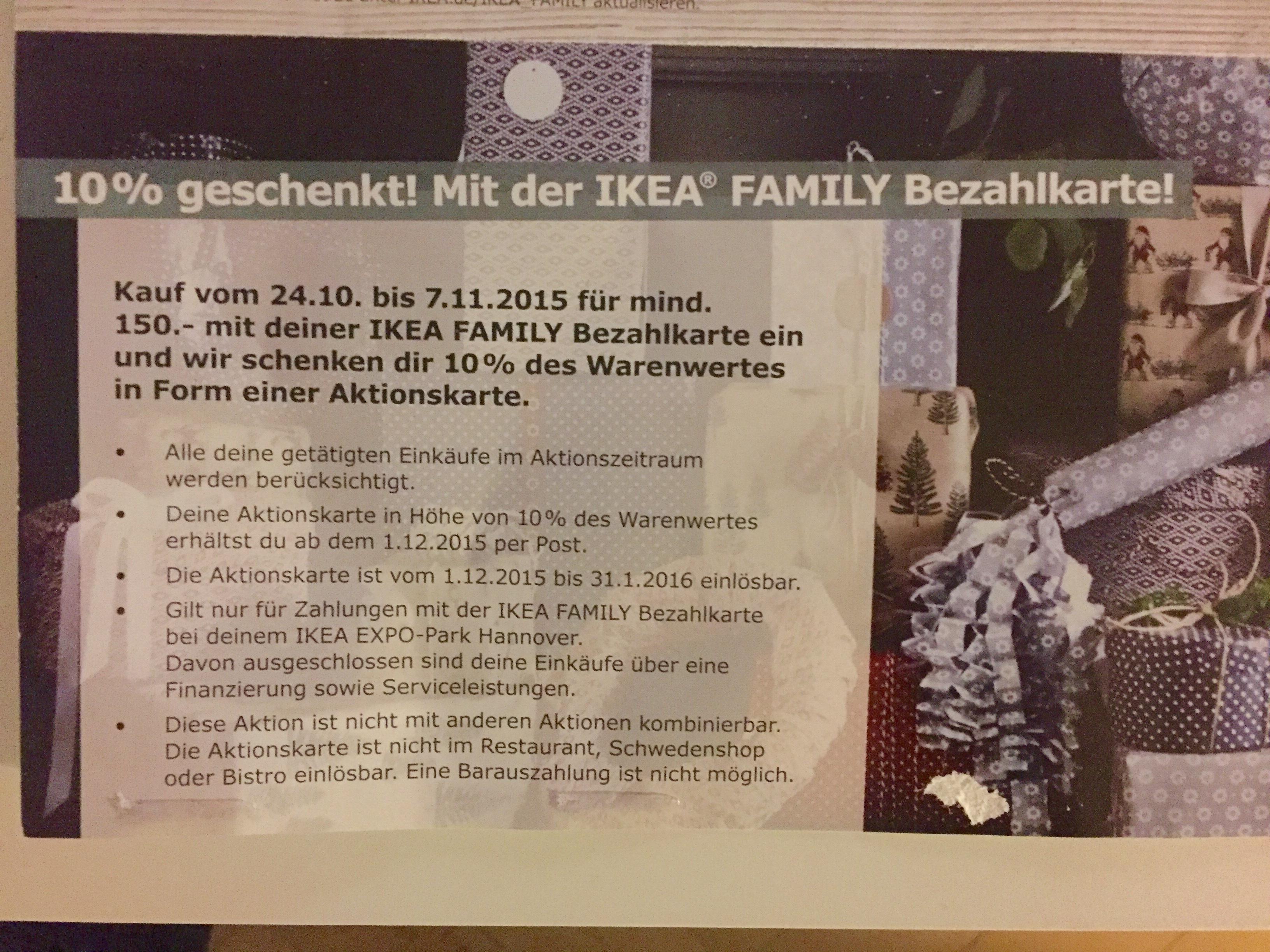 hannover evtl auch bundesweit 10 geschenkt mit der ikea family bezahlkarte. Black Bedroom Furniture Sets. Home Design Ideas
