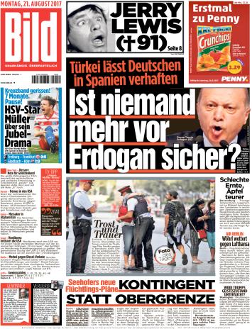 Bild  Zeitung 21 August 2017
