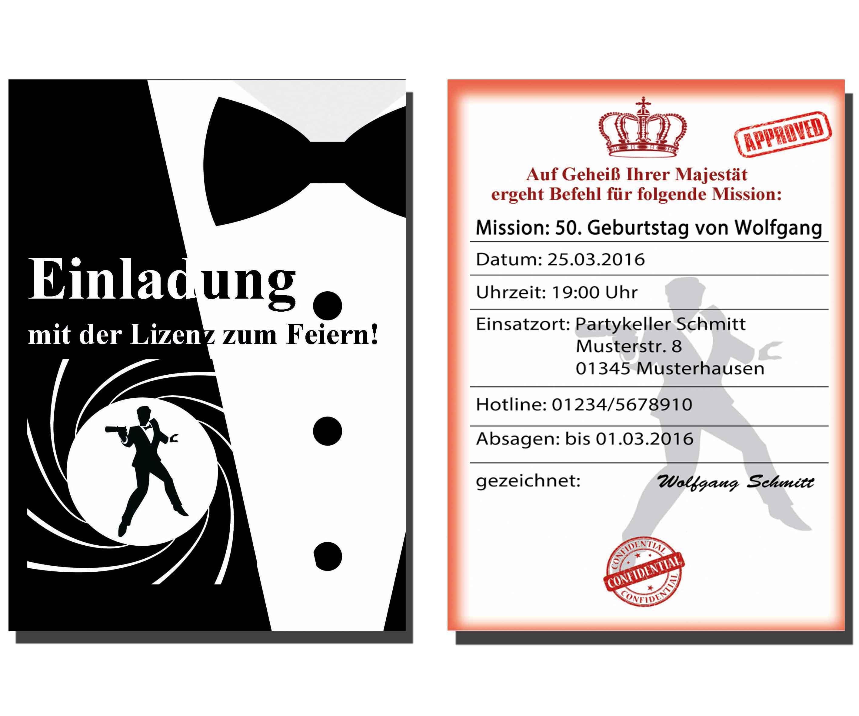 Einladungen Geburtstag Geheimagent Mission Spion Karten Einladungskarten james | eBay