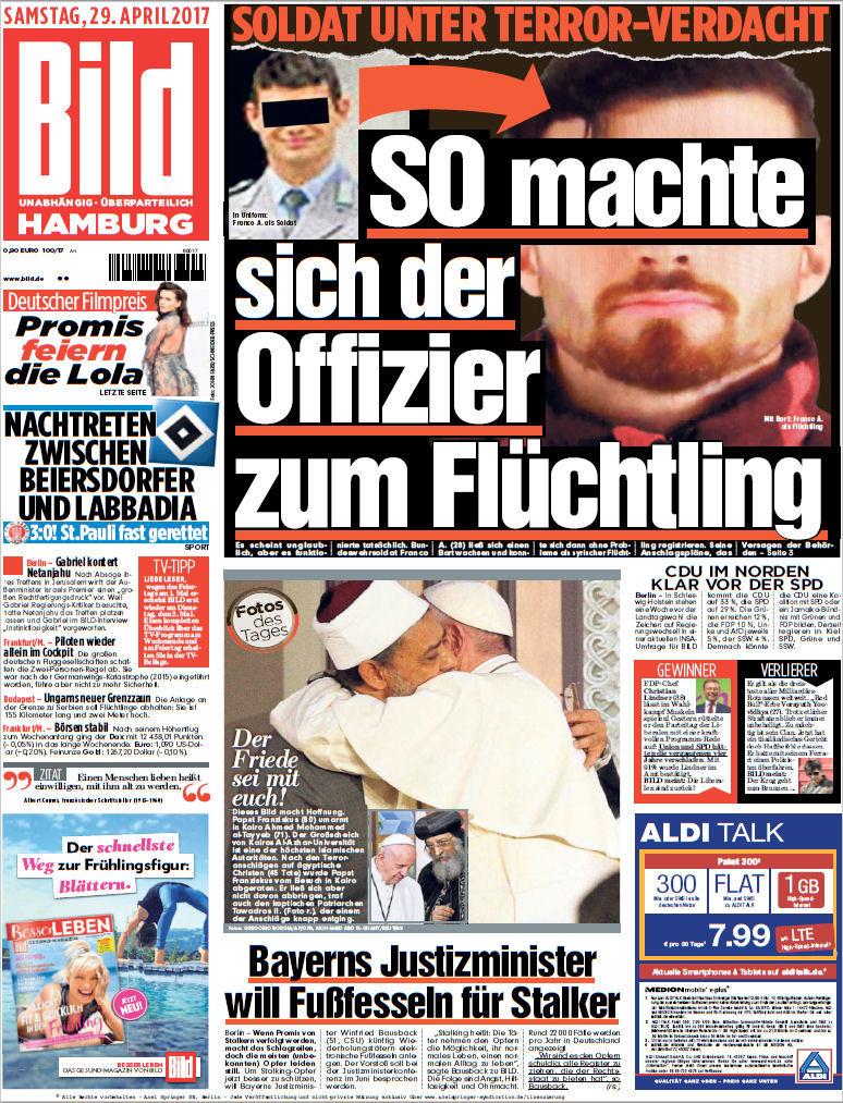 Bild  Zeitung 29 April 2017 (Ausgabe Hamburg)