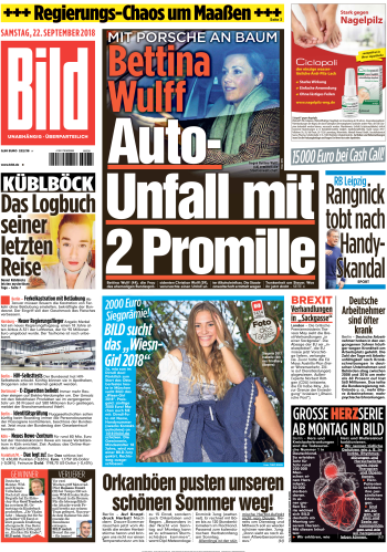 Bild Zeitung 22 September 2018