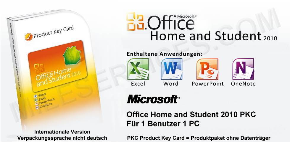 microsoft office home and student 2010 einzeln 1 pc lizenz key f r windows ebay. Black Bedroom Furniture Sets. Home Design Ideas