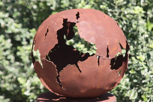 Kugel vase edelrost 30 50 cm rost gartendeko rostdeko deko garten metallkugel ebay - Metallkugel garten ...