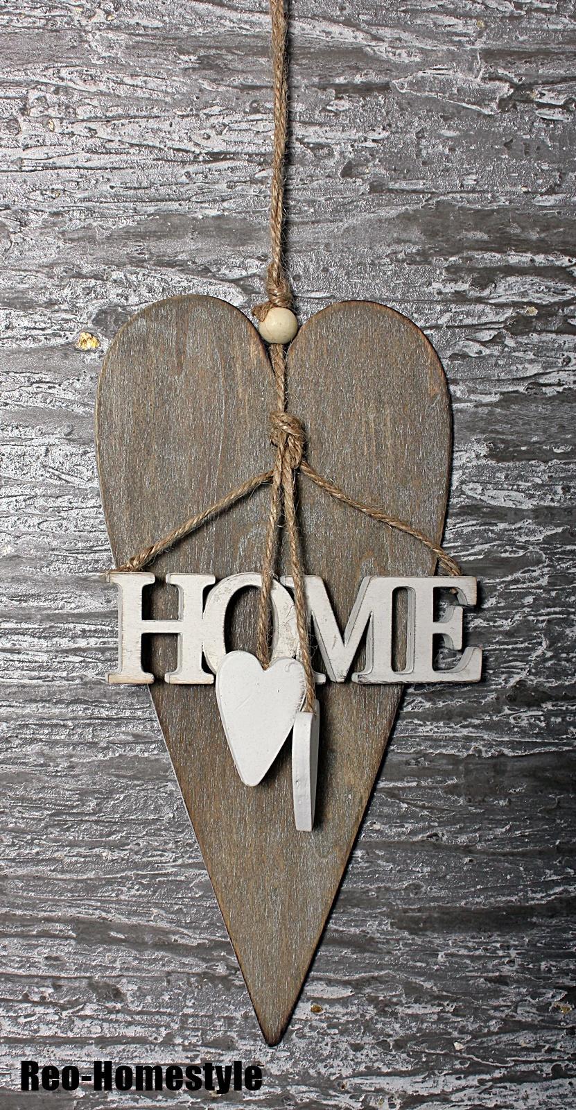 t rschild wanddeko dekoh nger holz herz landhaus vintage home braun 22 cm. Black Bedroom Furniture Sets. Home Design Ideas