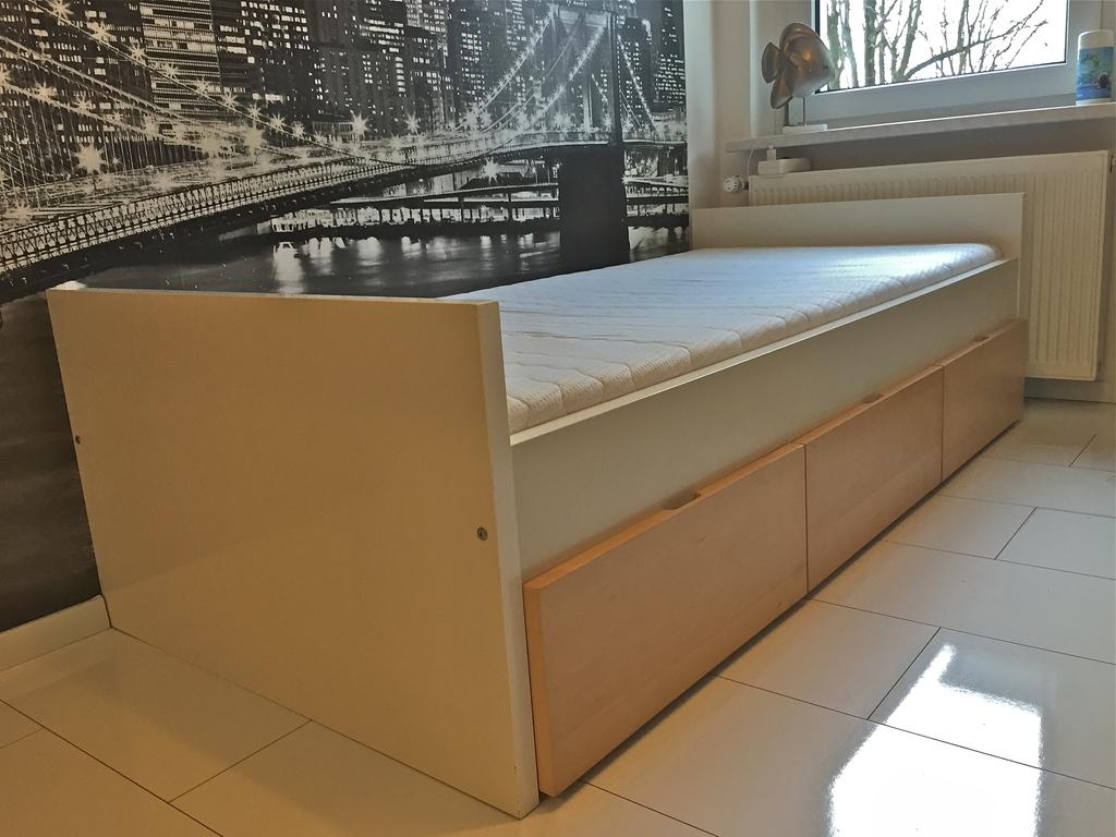 ikea bett jugendbett brekke 200x90 weiss birke ebay. Black Bedroom Furniture Sets. Home Design Ideas