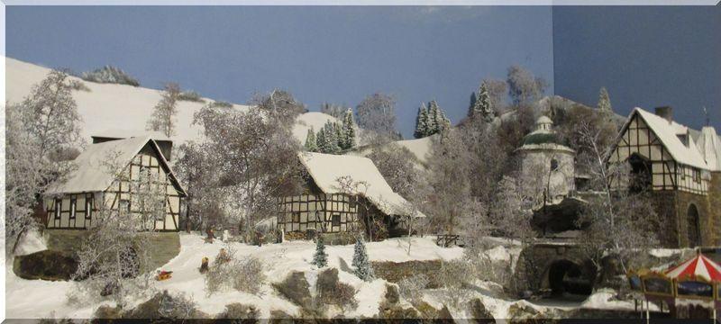Winteranlage mit Fachwerkhäusern Scrachbau 1zu87 mit Vallejo Produkten