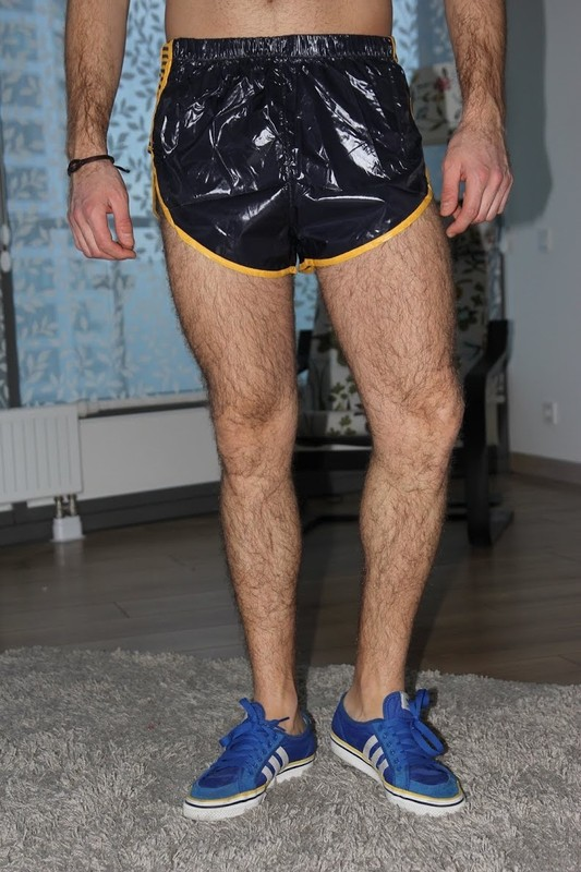 Shorts nylon gay sex man with hairy pubes 3