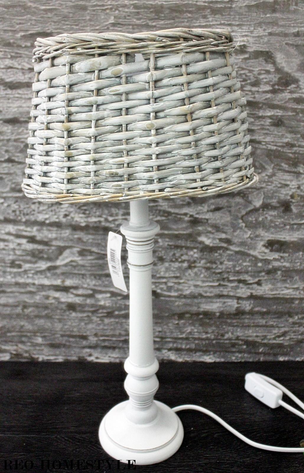 tischleuchte tischlampe nachttisch lampe holz weide grau wei shabby landhaus ebay. Black Bedroom Furniture Sets. Home Design Ideas