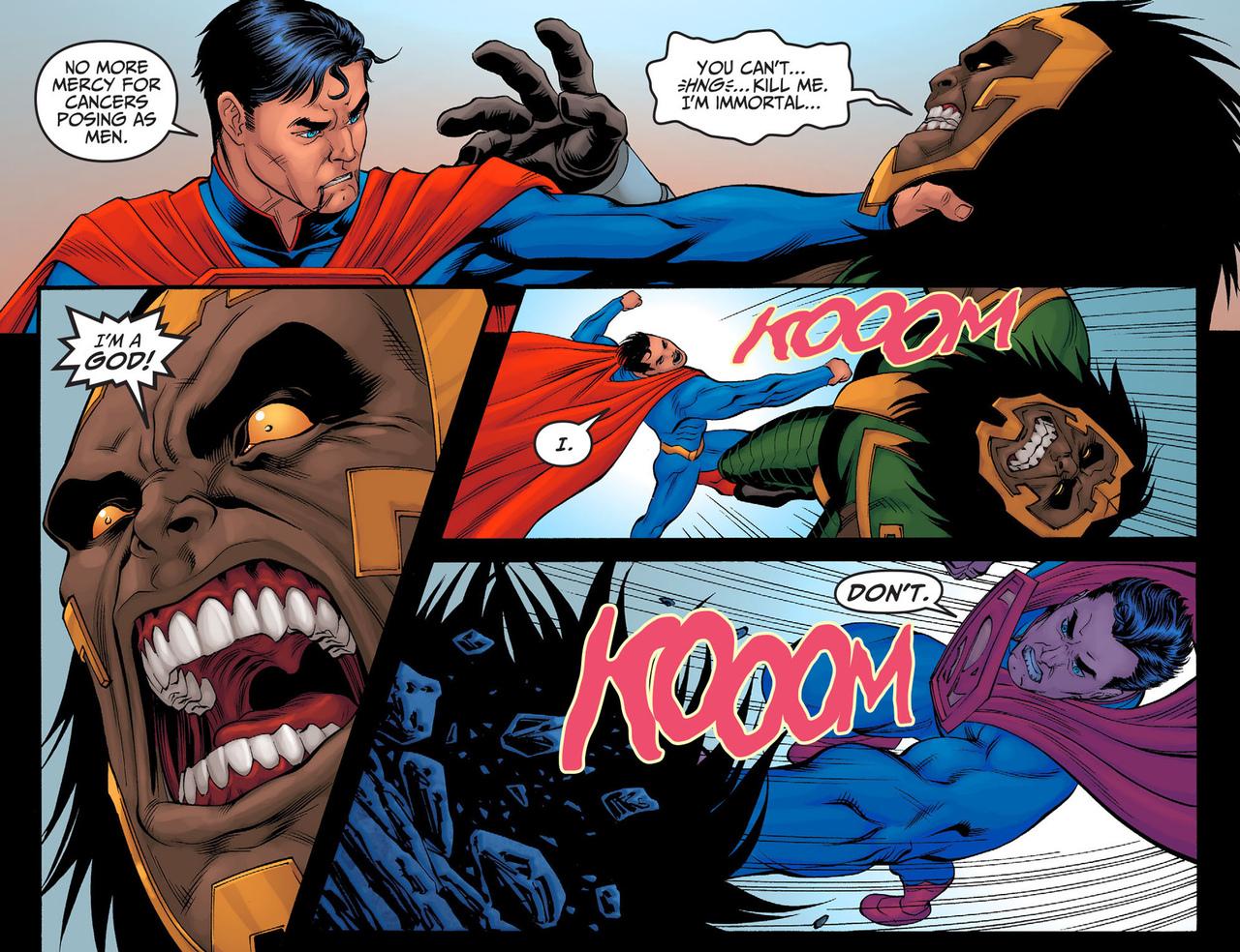 Superman kills Kalibak and goes talk to Barry vibrating at super speed