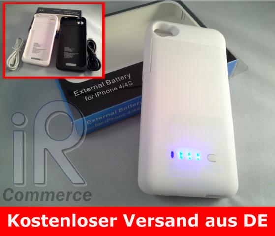 iPhone-4-4s-externer-Akku-1900mAh-Zusatzakku-Batterie-Case-Huelle-Power-WEISS