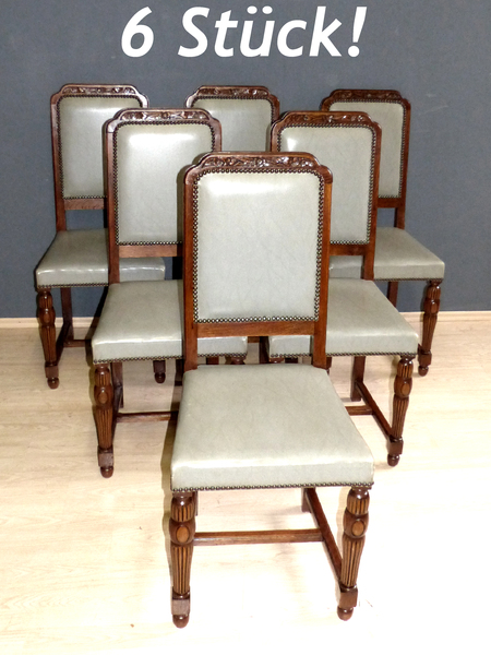 6 st ck jugendstil st hle eiche essgruppe antik esszimmer art deco stuhl set ebay. Black Bedroom Furniture Sets. Home Design Ideas