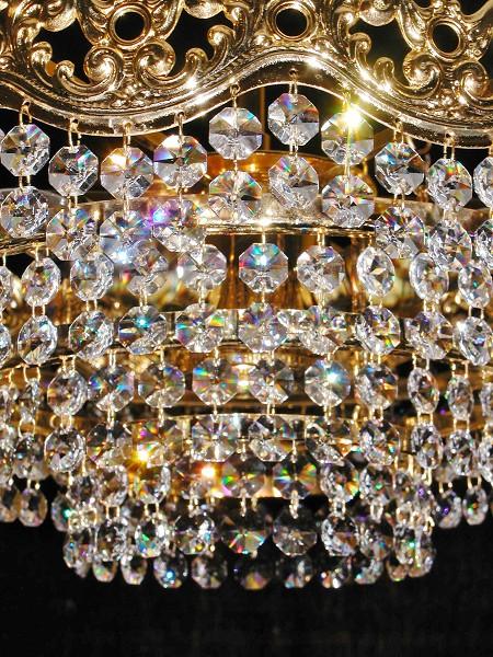 barock kristall kronleuchter l ster deckenlampe stra bleikristall gold korb ebay. Black Bedroom Furniture Sets. Home Design Ideas